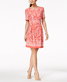 Jessica Howard Petite Puff-Print Dress