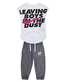 Nike Dust-Print T-Shirt & Dot-Print Capri Pants, Little Girls