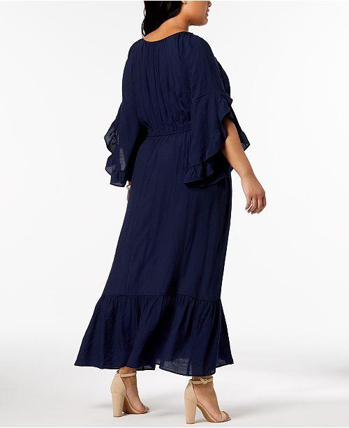 46427feffb ... NY Collection Plus   Petite Plus Size Crochet-Trim Peasant Maxi Dress  ...