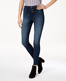 Black Daisy Juniors' Blake Stacked-Waist Skinny Jeans
