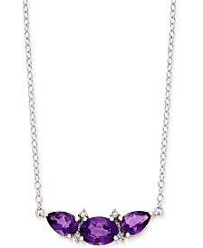 "Amethyst (2-1/2 ct. t.w.) & Diamond Accent 18"" Pendant Necklace in Sterling Silver"