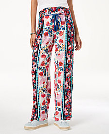 Be Bop Juniors' Floral-Print Wide-Leg Pants