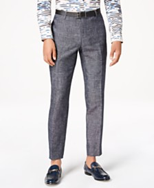 I.N.C. Men's Slim-Fit Textured Linen Pants, Created for Macy's