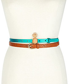 I.N.C. Pineapple 2-For-1 Skinny Belt Set, Created for Macy's