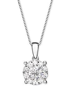 Diamond Pendant Necklace in 14k White Gold