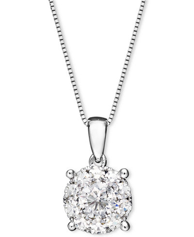 Diamond pendant necklace in 14k white gold necklaces jewelry diamond pendant necklace in 14k white gold mozeypictures Choice Image