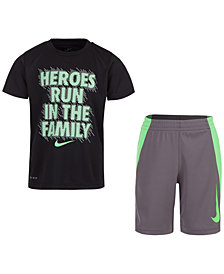 Nike Little Boys 2-Pc. Heroes-Print T-Shirt & Shorts Set