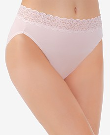 Vanity Fair Flattering Lace Cotton Stretch Hi-Cut Brief 13395, also available in extended sizes