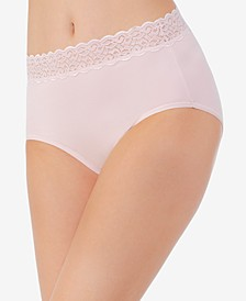 Flattering Cotton Lace Stretch Brief Underwear 13396, also available in extended sizes