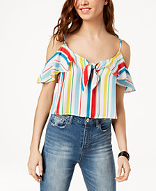 XOXO Juniors' Striped Ruffle-Trimmed Cold-Shoulder Top