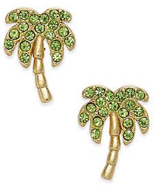 kate spade new york Gold-Tone Pavé Palm Tree Stud Earrings