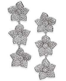 kate spade new york Silver-Tone Pavé Flower Triple Drop Earrings