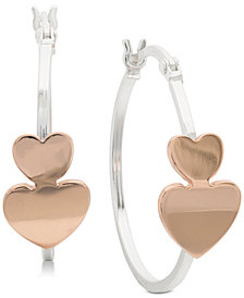 Giani Bernini Small Two-Tone Heart Hoop Earrings in Sterling Silver and 18k Rose Gold-Plate, 1""