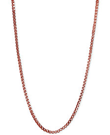 "Giani Bernini Adjustable 16""- 22"" Box Link Chain Necklace in 18k Rose Gold-Plated Sterling Silver, Created for Macy's"
