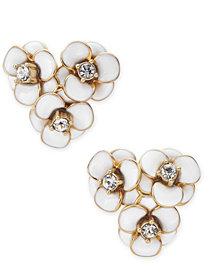kate spade new york Gold-Tone Pavé Flower Cluster Stud Earrings