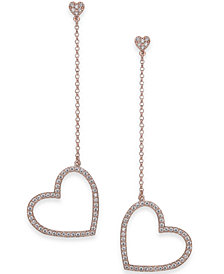 kate spade new york Gold-Tone Pavé Heart Linear Drop Earrings