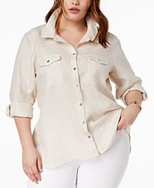 Plus Size Linen Striped Shirt, Created for Macy's