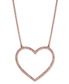 "kate spade new york Rose Gold-Tone Pavé Heart Pendant Necklace, 17"" + 3"" extender"