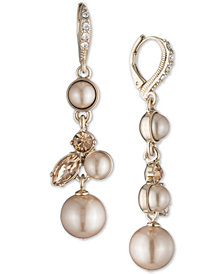 Givenchy Gold-Tone Imitation Pearl & Crystal Drop Earrings