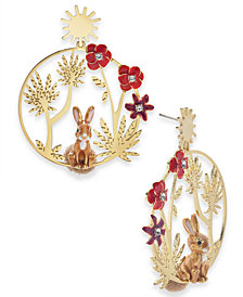 kate spade new york Gold-Tone Crystal Bunny Statement Earrings