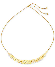 "kate spade new york Gold-Tone Leaf 32"" Slider Necklace"