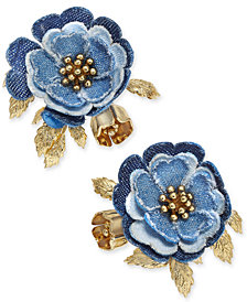 kate spade new york 14k Gold-Plated Denim Flower Stud Earrings