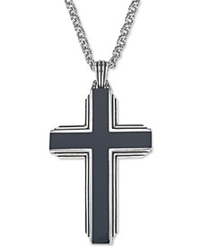 "Black Onyx Cross 22"" Pendant Necklace in Sterling Silver, Created for Macy's"