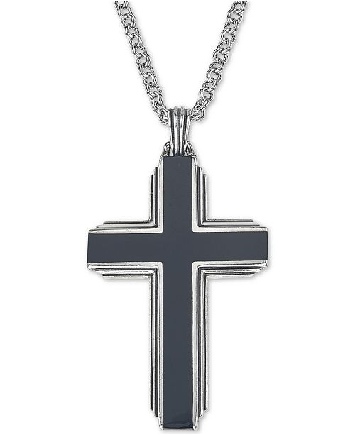 """Esquire Men's Jewelry Black Onyx Cross 22"""" Pendant Necklace in Sterling Silver, Created for Macy's"""