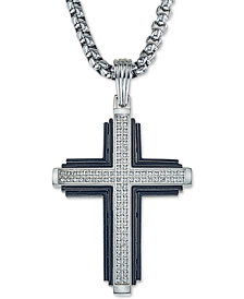 "Esquire Men's Jewelry Diamond Cross 22"" Pendant Necklace (1/3 ct. t.w.) in Stainless Steel & Black Ion-Plate, Created for Macy's"