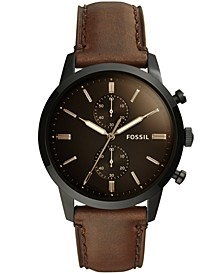 Men's Chronograph Townsman Brown Leather Strap Watch 44mm