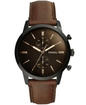 Men's Chronograph Townsman Brown Leather Strap Watch 44mm