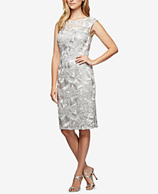 Alex Evenings Petite Embroidered Illusion Dress