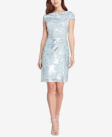 Tahari ASL Draped Metallic Dress