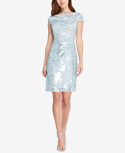 Tahari Draped Metallic Dress