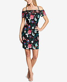GUESS Floral Embroidered Cold-Shoulder Sheath Dress