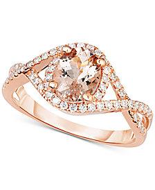 Morganite (1-1/5 ct. t.w.) & Diamond (1/3 ct. t.w.) Ring in 18k Rose Gold