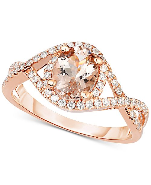 Macy's Morganite (1-1/5 ct. t.w.) & Diamond (1/3 ct. t.w.) Ring in 18k Rose Gold