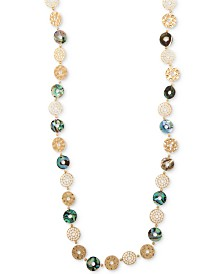 "lonna & lilly Gold-Tone & Shell Multi-Disc 36"" Strand Necklace"