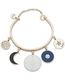 DKNY Gold-Tone Charm Bangle Bracelet, Created for Macy's
