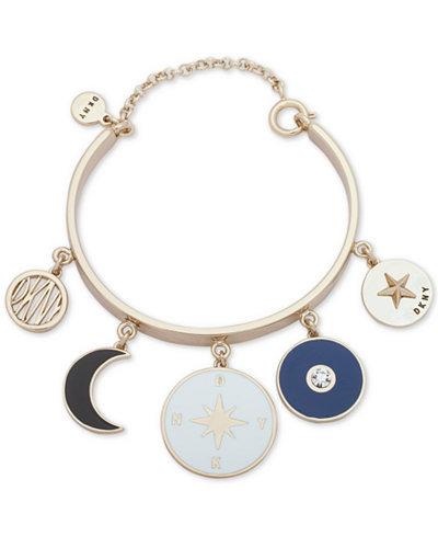 DKNY Gold-Tone Charm Bangle Bracelet, Created for Macy's