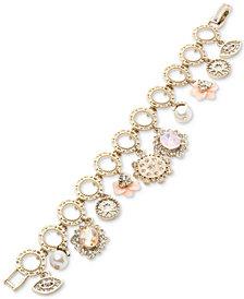 Marchesa Gold-Tone Crystal Charm Link Bracelet