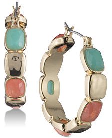 Nine West Gold-Tone Multi-Stone Hoop Earrings