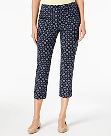 Charter Club Tummy-Control Cropped Printed Pants, Created for Macy's