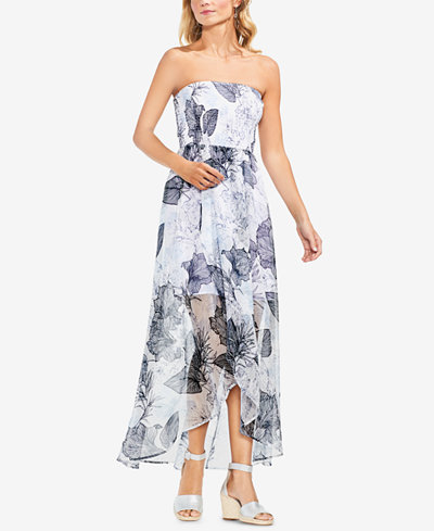 Vince Camuto Floral-Print Strapless Dress