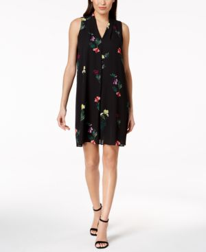 Vince Camuto Pleated Floral-Print Shift Dress 6261238