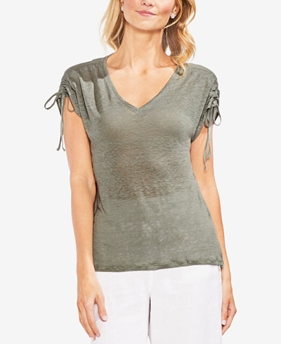 Vince Camuto Linen Drawstring-Sleeve T-Shirt