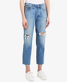 Calvin Klein Jeans Cotton Ripped Cropped Jeans