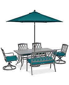 """CLOSEOUT! Glenwood Outdoor 6-Pc. Dining Set (72"""" x 38"""" Dining Table, 2 Dining Chairs, 2 Swivel Rockers & 1 Bench) with Sunbrella® Cushions, Created for Macy's"""