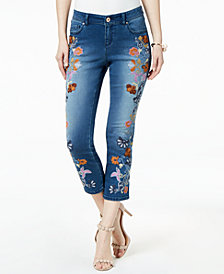 I.N.C. Embroidered Cropped Jeans, Created for Macy's