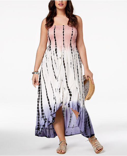 Raviya Plus Size Printed Tube Dress Ruffled Cover-Up ...